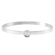 Polaris Steel in acciaio inossidabile bracciale bangle con castone per cabochon 7 mm Swarovski SS34 argento