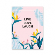 Espositori bigiotteria in cartoncino 'live love laugh' rosa-blu