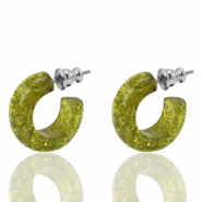 Orecchini a cherchio Polaris Elements glitterato 18mm verde oliva