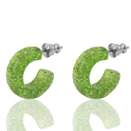 Orecchini a cherchio Polaris Elements glitterato 18mm raggio verde
