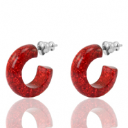 Orecchini a cherchio Polaris Elements glitterato 18mm rosso siam